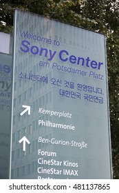 Welcome to Sony Center Berlin Potsdamer Platz - BERLIN / GERMANY - AUGUST 31, 2016