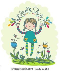 welcome spring funny girl illustration