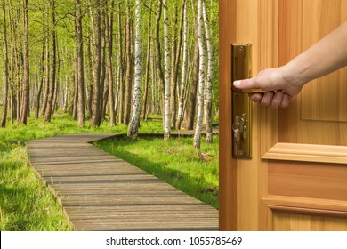 Welcome spring. Woman's hand at home opening the wooden door with view on footpath through natural green forest with illuminated sunbeams. Start a new day with breathing of fresh air.