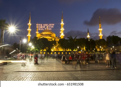 """""""Welcome to the sultan of eleven months"""" lettering hanging on Blue Mosque's mahya in Istanbul,Turkey.Mahya is an enlightenment arrangement during ramadan nights between two minarets."""
