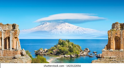 Welcome to Taormina concept. Collage with ancient Greek theatre, Isola Bella and Etna mount near Taormina, Italy. Taormina located in Metropolitan City of Messina, on east coast of island of Sicily.