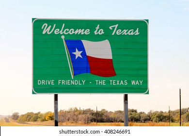 Welcome to Texas road sign at the state border with some bullet holes