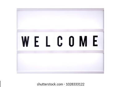 Welcome text in a light box. Box isolated over white background. A sign with a message