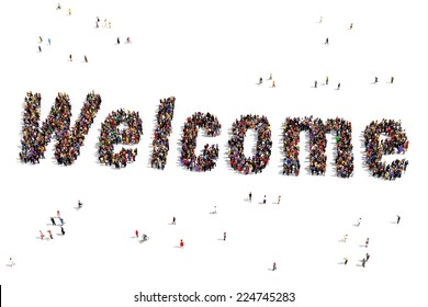 """Welcome"" text, written out of people seen from above"