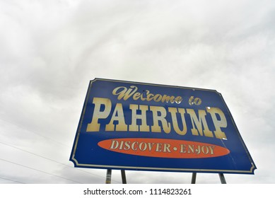 Welcome to the town of Pahrump, Nevada sign