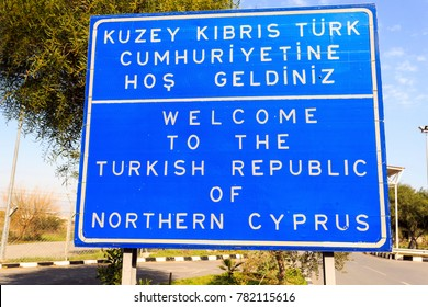 Welcome to The Turkish Republic of Northern Cyprus border sign.