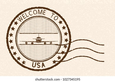 Welcome to USA brown stamp. With airplane sign. Illustration on beige background. Raster version