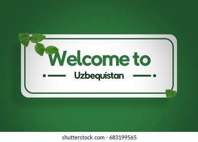 Welcome to Uzbekistan sign travel tourism illustration