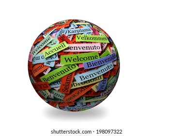 welcome  Word Cloud  printed on  paper on 3d sphere