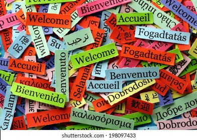 welcome  Word Cloud  printed on  paper on blue font