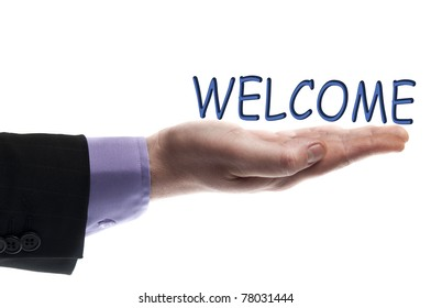 Welcome word in male hand
