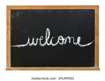 Welcome written in cursive in white chalk on a black chalkboard isolated on white