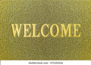 Welcome Yellow Door Mat. Welcome Carpet Background. Welcome Yellow Sign.