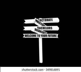 Welcome to your Future College Degrees Directional Sign (Associates, Bachelors, Masters, Doctorate) isolated on black background
