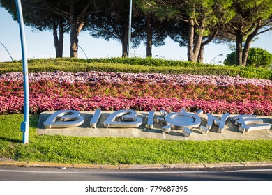 Welcoming Bibione sign on the roundabout entering the city