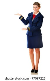 Welcoming flight attendant smiling - isolated over a white background