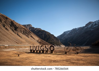 Welcoming sign of Livigno (Italy) - sports & recreation (mountain and cross-country skiing, snowboarding, cycling, climbing, hiking, Nordic walking) and duty free shopping paradise