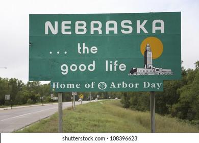 Welcoming sign to Nebraska...The good life, Nebraska
