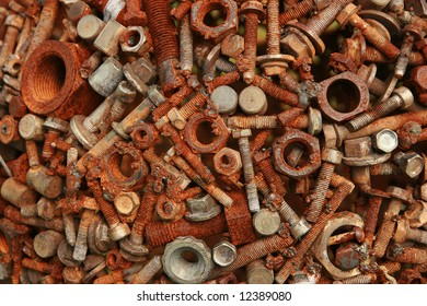 Welded rusty bolts and nuts