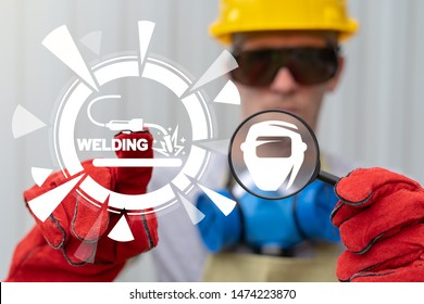 Welder holds magnifier with welding safety mask icon and touches welding torch virtual button. Welding steel construction industry concept.