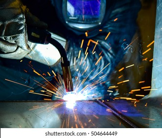 welder Industrial automotive part in factory steel, production