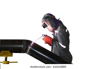 welder man welding pipe in factory isolated on white background