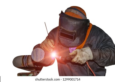 Welder man welding process by Tig gas argon isolated on white background