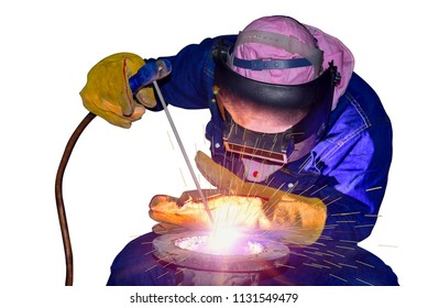 welder man working welding process success with steel pipe wear protective equipment and mask isolated on white background
