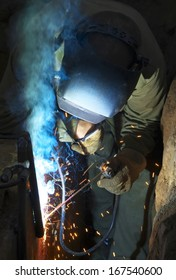 Welder on the industrial workplace. Construction and manufacturing
