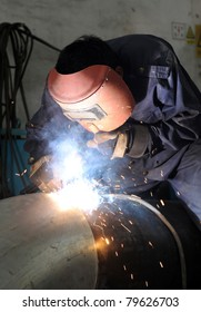 The welder in the operate