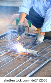 Welder steel working ,  Erecting technical industrial steel