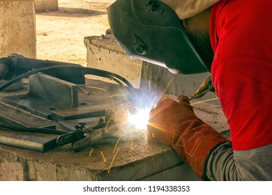 "Welder is welding ""stick welding"" or ""electric welding"". Shielded metal arc welding (SMAW) uses an electrode that is coated in flux to protect the weld puddle. The electrode holder holds the electrode"