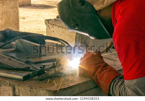 Welder Welding Stick Welding Electric Welding Stock Photo (Edit Now
