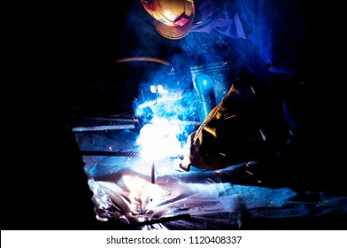Welders working at the factory made metal. welder, craftsman, erecting technical steel Industrial steel welder in factory technical,
