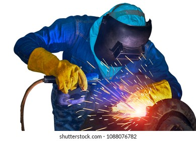 Welding arc worker isolated on white backgroud with equipment protective mask for safe