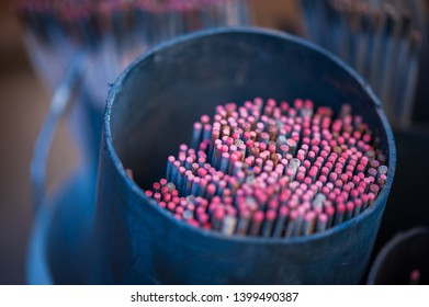 Welding electrodes. Close up Welding electrodes wire