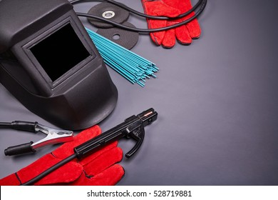 Welding equipment, welding mask, protective leather gloves, welding electrodes, high-voltage wires with clamps, cutting disc for grinder, set of accessories for arc welding.