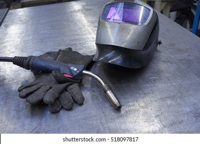 Welding Equipment With Shield, Gloves And Welder Torch