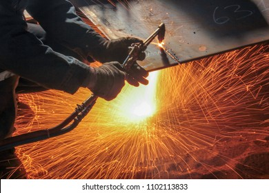 Welding, or gas welding in the U.S. and oxy-fuel cutting are processes that use fuel gases and oxygen to weld and cut metals, respectively.