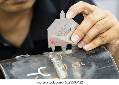 Welding inspection on butted weld coupon