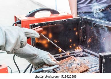 welding metal on iron plate