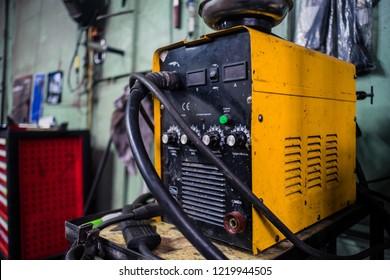Welding MIG machine in yellow color