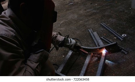 Welding to modify cable tray. ,Wear gloves to protect heat and use welding helmets to protect light from welding.