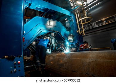 welding of pipes at the plant