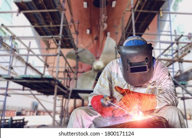 Welding process ship repair at floating dry dock in shipyard - Shutterstock ID 1800171124