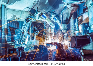 Welding robots movement in a car factory.