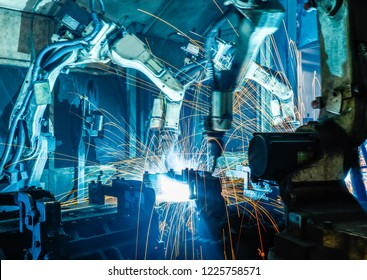 Welding robots represent the movement in the automotive parts industry