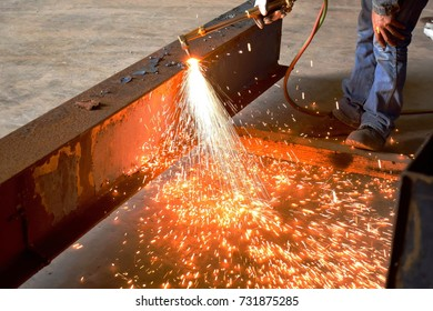 Welding sparks of beam steel from Welding technician or Sparks cut steel with fire gas.