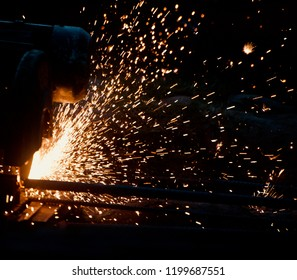 Welding sparks at night isolated unique blurry photo