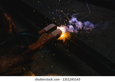 Welding sparks steel